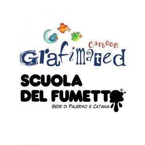 logos Scuola and Grafimated cartoon